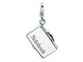 Amore LaVita™ Sterling Silver 3-D Enameled Opening Notebook Laptop w/Lobster Clasp Charm (Opens) for Charm Bracelet