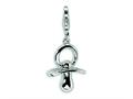 Amore LaVita™ Sterling Silver Pacifier w/Lobster Clasp Bracelet Charm