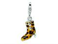 Amore LaVita™ Sterling Silver White CZ Enameled Leopard Print Boot w/Lobster Clasp Bracelet Charm