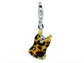 Amore LaVita™ Sterling Silver CZ Black and Yellow Enameled Tank Top w/Lobster Clasp Bracelet Charm