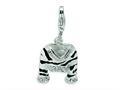 Amore LaVita™ Sterling Silver CZ Polished Enamel Zebra Jacket w/Lobster Clasp Bracelet Charm