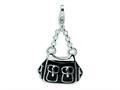 Amore LaVita™ Sterling Silver 3-D Enameled Black Handbag w/Lobster Clasp Bracelet Charm