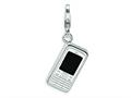 Amore LaVita™ Sterling Silver 3-D Enameled Cell Phone w/Lobster Clasp Bracelet Charm