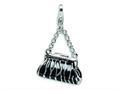 Amore LaVita™ Sterling Silver 3-D Enameled Zebra Hand Bag w/Lobster Clasp Bracelet Charm