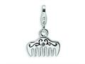 Amore LaVita™ Sterling Silver 3-D Swarovski Crystal and Enameled Comb w/Lobster Clasp Bracelet Charm