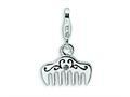 Amore LaVita™ Sterling Silver 3-D Swarovski Crystal and Enameled Comb w/Lobster Clasp Bracelet Charm