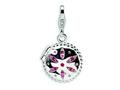 Amore LaVita™ Sterling Silver 3-D Swarovski Crystal and Enameled Compact w/Lobster Clasp Charm (Moveable) for Charm Brac