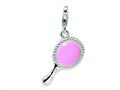 Amore LaVita™ Sterling Silver 3-D Enameled Pink Hand Mirror w/Lobster Clasp Bracelet Charm
