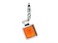 Amore LaVita™ Sterling Silver 3-D Orange Enameled w/Lobster Clasp Bracelet Charm