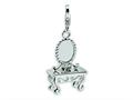 Amore LaVita™ Sterling Silver 3-D Vanity w/Lobster Clasp Bracelet Charm