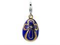 Amore LaVita™ Sterling Silver 3-D Enameled Stone? Purple Egg w/Lobster Clasp for Charm Bracelet