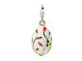 Amore LaVita™ Sterling Silver 3-D Enameled White Egg w/Lobster Clasp Bracelet Charm