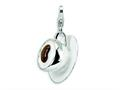 Amore LaVita™ Sterling Silver 3-D Enameled Cappuccino w/Lobster Clasp Bracelet Charm