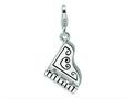 Amore LaVita™ Sterling Silver 3-D Enameled Grand Piano w/Lobster Clasp Bracelet Charm