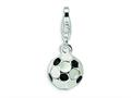 Amore LaVita™ Sterling Silver Enamel Miniature Soccer Ball  Lobster claasp for Charm Bracelet