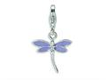 Amore LaVita™ Sterling Silver Lilac Enameled Dragonfly w/Lobster Clasp Bracelet Charm