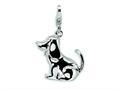 Amore LaVita™ Sterling Silver 3-D Enameled Dog w/Lobster Clasp Bracelet Charm