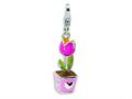 Amore LaVita™ Sterling Silver 3-D Enameled Tulip w/Lobster Clasp Bracelet Charm