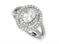Cheryl M™ Sterling Silver Fancy Oval CZ Ring
