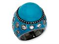 Cheryl M™ Black-plated Sterling Silver Enameled Simulated Turquoise and CZ Ring