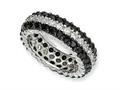 Cheryl M™ Sterling Silver Black/White CZ Eternity Ring