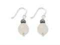 Sterling Silver Rose Quartz With Antiqued Bead Dangle Earrings