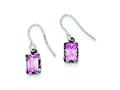 Sterling Silver Antiqued Pink Cubic Zirconia Earrings