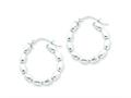 Sterling Silver Polished Beaded Hoop Earrings