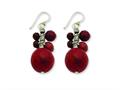 Sterling Silver Faceted Red Jasper and 14mm Red Coral Earrings