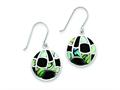 Sterling Silver Onyx and Abalone Earrings