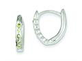 Sterling Silver Green Cubic Zirconia Hinged Hoop Earrings
