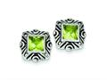 Sterling Silver Green Cubic Zirconia Square Earrings