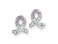 Sterling Silver Pink Cubic Zirconia Ribbon Earrings