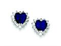Sterling Silver Dark Blue And Clear Cubic Zirconia Heart Earrings