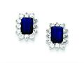 Sterling Silver Dark Blue And Clear Cubic Zirconia Earrings