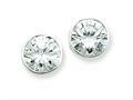 Sterling Silver 10mm Cubic Zirconia Round Bezel Stud Earrings
