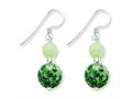 Sterling Silver Green Moss Agate and Green Quartz Earrings