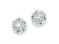Sterling Silver Cubic Zirconia Half Ball Post Earrings