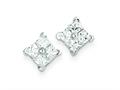Sterling Silver Cubic Zirconia Square Post Earrings