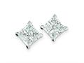 Sterling Silver Cubic Zirconia Large Square Post Earrings
