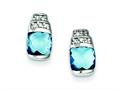 Sterling Silver Blue and Clear Cubic Zirconia Post Earrings