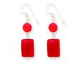 Finejewelers Sterling Silver Red Coral/red Agate Earrings