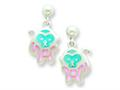 Sterling Silver Pink and Blue Resin Monkey Earrings