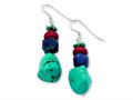 Sterling Silver Red Coral/howlite/lapis and Turquoise Dangle Earrings