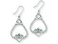 Sterling Silver Fancy Hearts Cubic Zirconia Dangle Earrings