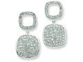Sterling Silver Open Cubic Zirconia Square and Hanging Full Square Cubic Zirconia Post Dangle Earrings