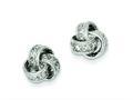 Sterling Silver Cubic Zirconia Love Knot Post Earrings