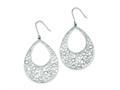 Sterling Silver Flower Cut Out W/ Cubic Zirconia Teardrop Dangle Earrings