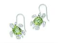 Sterling Silver Clear, Green And Blue Cubic Zirconia Turtle Dangle Earrings