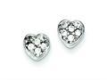 Sterling Silver Cubic Zirconia Heart Post Earrings